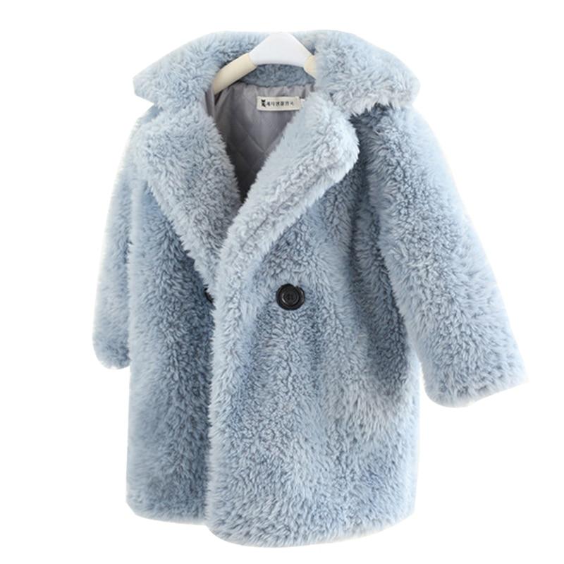 2-12 Years Children Faux Fur Coat Baby turndown collar Thicken Warm Jacket Girls Long Overcoat Winter Kids girls Casual Outwear