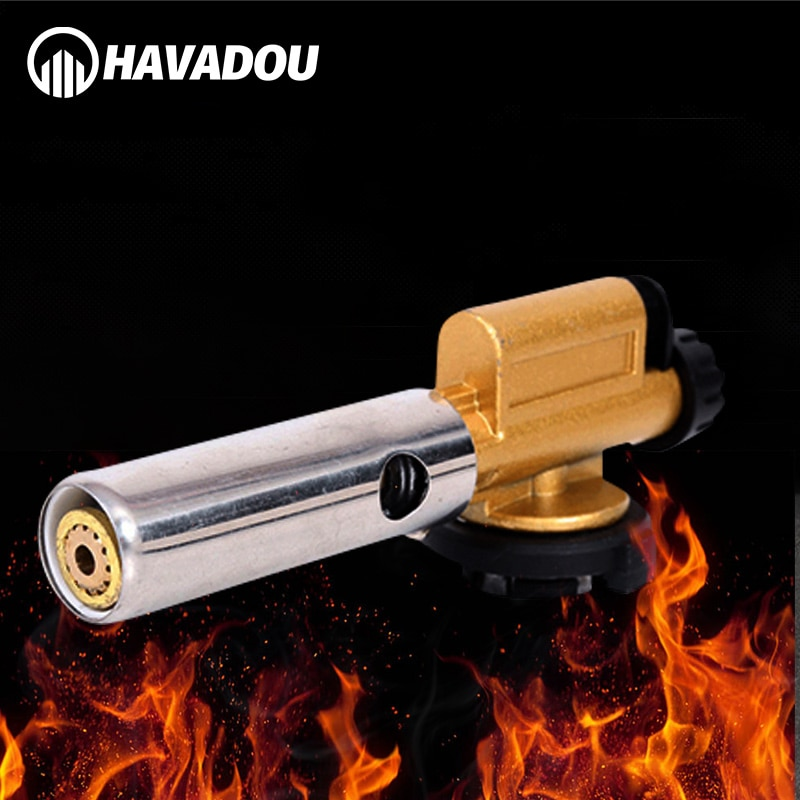 HAVADOU Electronic Ignition Cassette Torch Welding Torch Outdoor Camping Burner Spray Gun Head