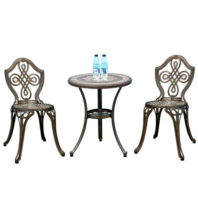 طاولة وكرسي من الحديد المطاوع من الألومنيوم المصبوب ، للشرفة الخارجية ، فناء ، حديقة ، ترفيه بسيط ، طاولة وكرسي