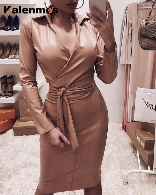 Elegant Women's PU Dress Sexy Buttocks Fashion Drape Francais High Quality Retro Dress Office Wear Ladies Leather Vestidos 2021