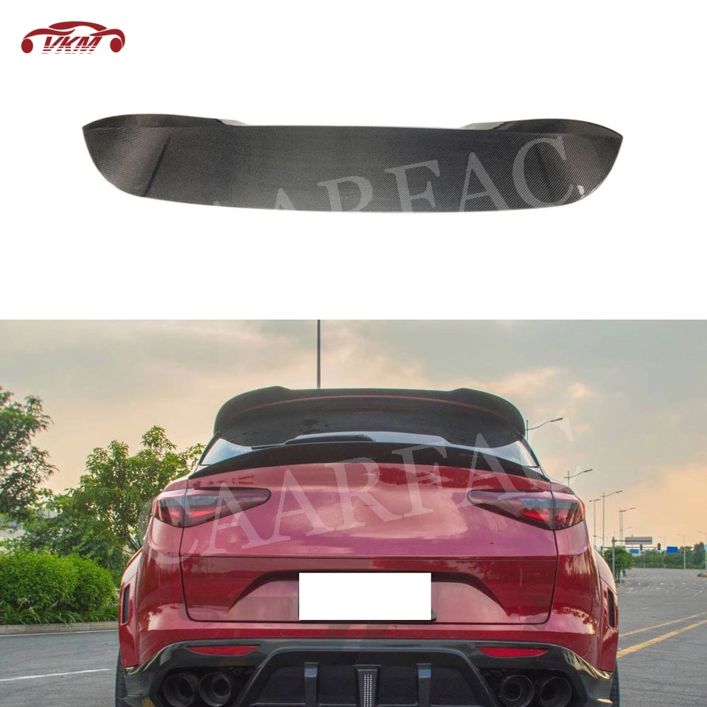 Alerón de techo trasero de fibra de carbono/FRP, cubierta de alas para Alfa Romeo Stelvio, Base deportiva, ulity TI Quadrifoglio 2017 2018 2019