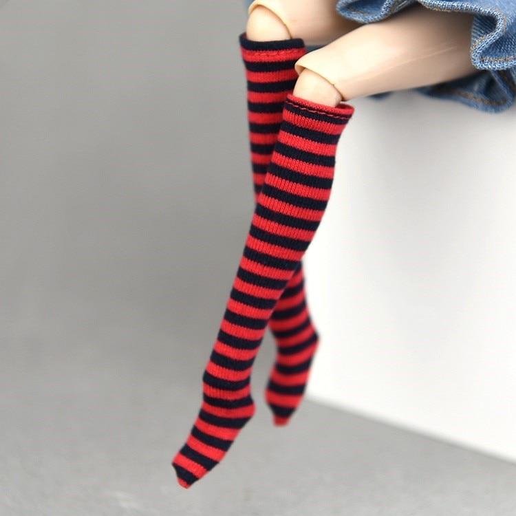 1 par, 1/6, a rayas de muñeca, calcetines de para muñecas de escala 1/6 Blythe Socking, accesorios de ropa, Blyth, muñeca 1/6