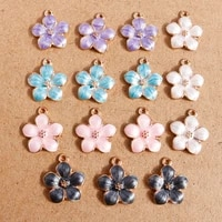 10pcs 1517mm candy colors enamel flower charms for jewelry making pendants necklaces earrings keychain diy crafts accessories