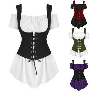 Medieval Steampunk 2Peices Clothing Set for Woman Off Shoulder Shirt Bandage Vest Stage Viking Pirate Cosplay Costumes