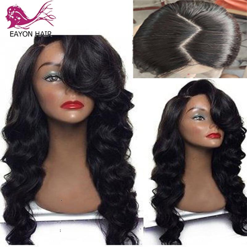 EAYON pelucas con cabello humano de encaje completo, pelucas con minimechones ondulados prepelados sin pegamento, pelucas de encaje completo para mujeres, cabello Remy peruano ondulado