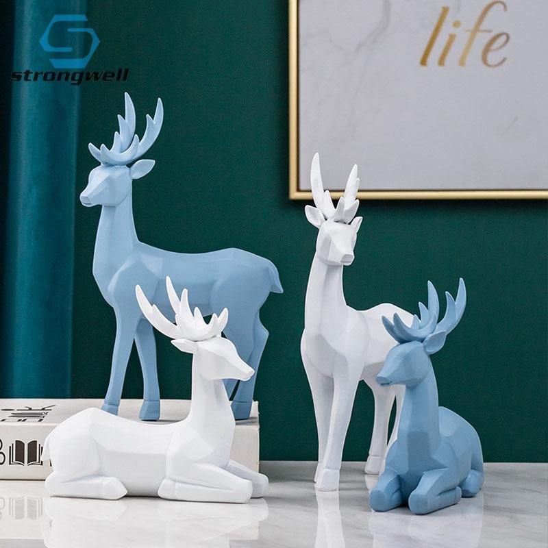 Decoração para Casa Modelo em Miniatura Sala de Estudo Strongwell Origami Estatuetas Animais Sorte Cervos Casais Escritório Decoração Artesanato Elk