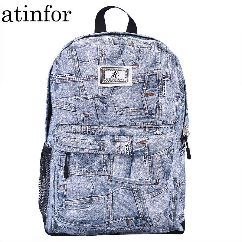 Atinfor à prova dwaterproof água impressão feminina grande capacidade denim mochila de viagem feminino bonito saco escolar para adolescentes