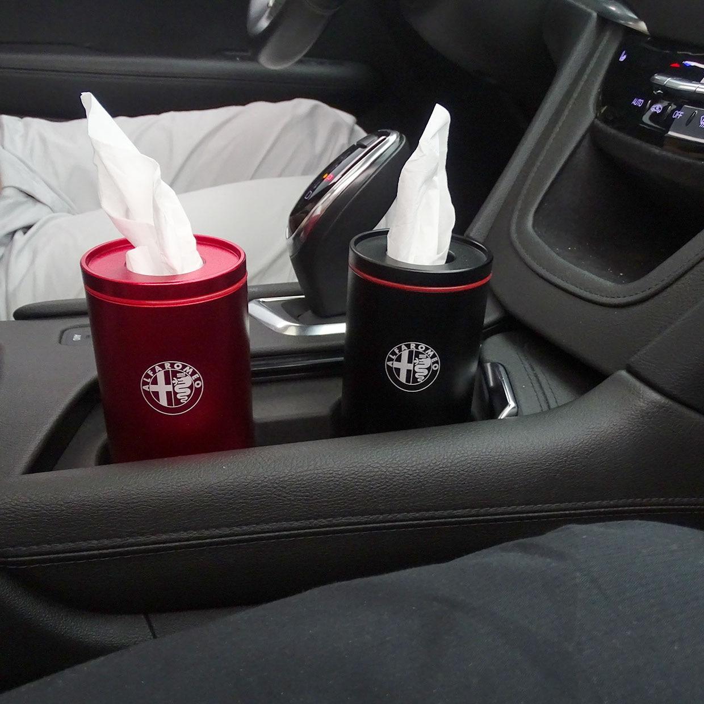 Soporte para taza de coche de aleación con estilo, caja de pañuelos de papel en cilindro, toallas de papel, tubo para alfa romeo 4C 159 147 156 giulietta 147 159 emblemas