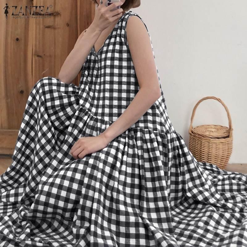 ZANZEA-vestido veraniego informal para mujer, de cuadros a cuadros, hasta 5XL, largo, bohemio, sin mangas, en algodón y lino, 2020