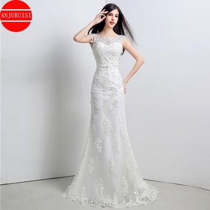Elegant Lace Appliques Cap Sleeves Wedding Dress Mermaid vestido de noiva Sexy Back Less Scoop Neck Bridal Gown 2020 With Bow