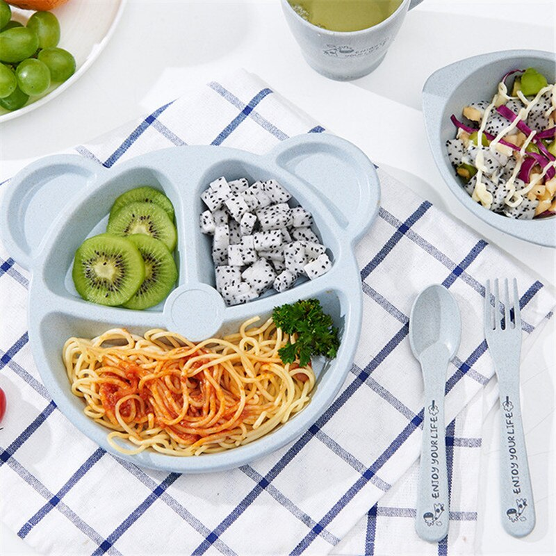 Tazón para bebé + cuchara + tenedor juego de comida vajilla oso dibujos animados niños platos comer vajilla anti-trigo paja caliente