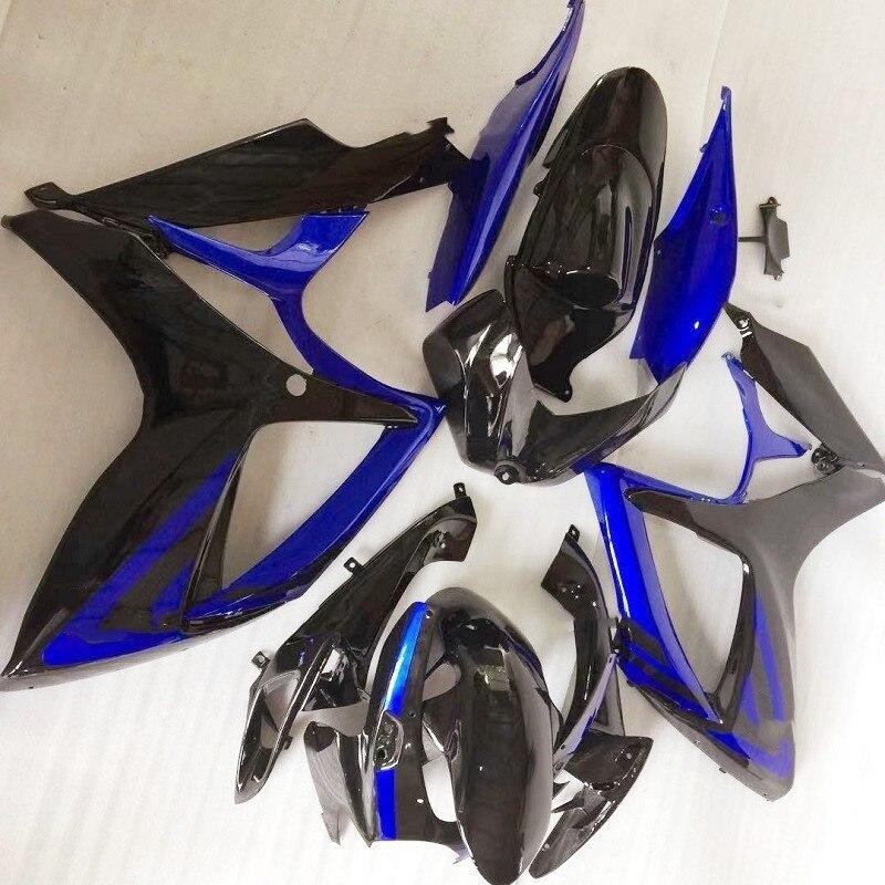 كله جديد Fairings كيت صالح لسوزوكي GSX-R600 GSX-R750 K6 2006 2007 سوزوكي الأزرق GSX-R600 k6 06 07 أسود أزرق Fairings