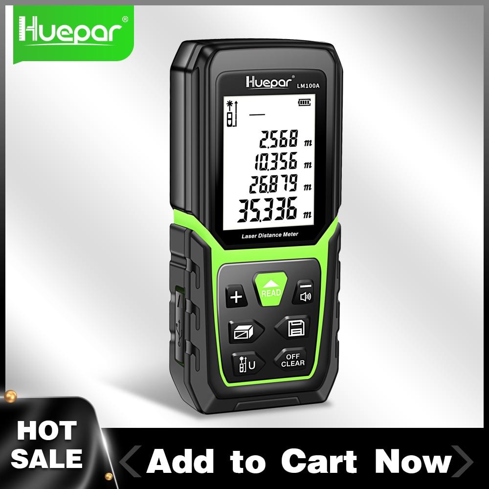 Huepar ليزر Rangefinder مقياس مسافات 330Ft/100M الخلفية LCD قياس الليزر م/في/قدم مع بطارية ليثيوم أيون ومستشعر زاوية الكهربائية