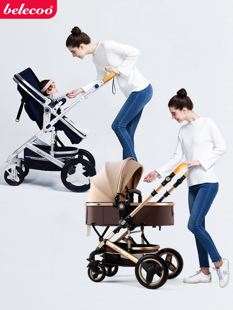 Belecoo Baby Stroller 2 in 1/3 in 1 High Landscape Stroller Reclining Baby Carriage Foldable Stroller Baby Bassinet Puchair enlarge