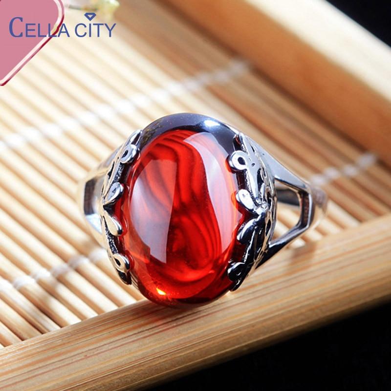 Cellacity Thai Silber 925 Schmuck Edelsteine Ring für Frauen Granat Gelb Bernstein Smaragd Mondstein Öffnung einstellbar Ringe Geschenke