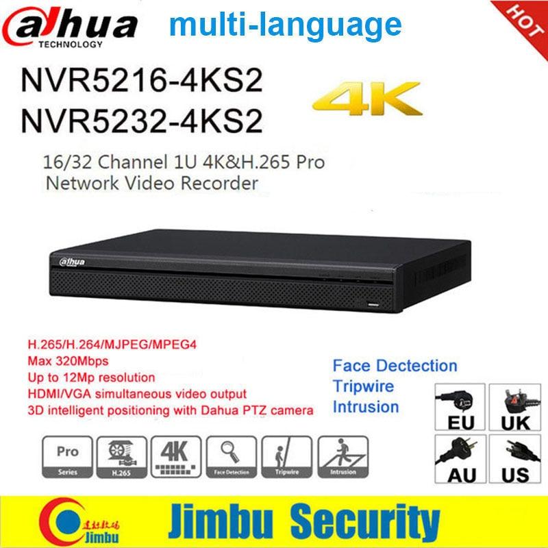 Dahua-Grabadora de vídeo NVR 4K H.265 H.264, NVR5216-4KS2, 16 canales, NVR5232-4KS2, 32 canales para cámara IP, hasta 12MP de resolución, DVR P2P