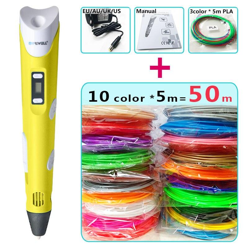 myriwell 3d pens + 10 * 5m ABS Filament, Creative 3d pen doodler Children gifts 3d drawing pen-3d pen 3d model