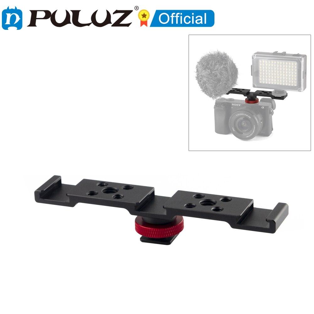 PULUZ-Soporte de rtula con zapata de tres cabezales para cmara... fotografía... Selfie...