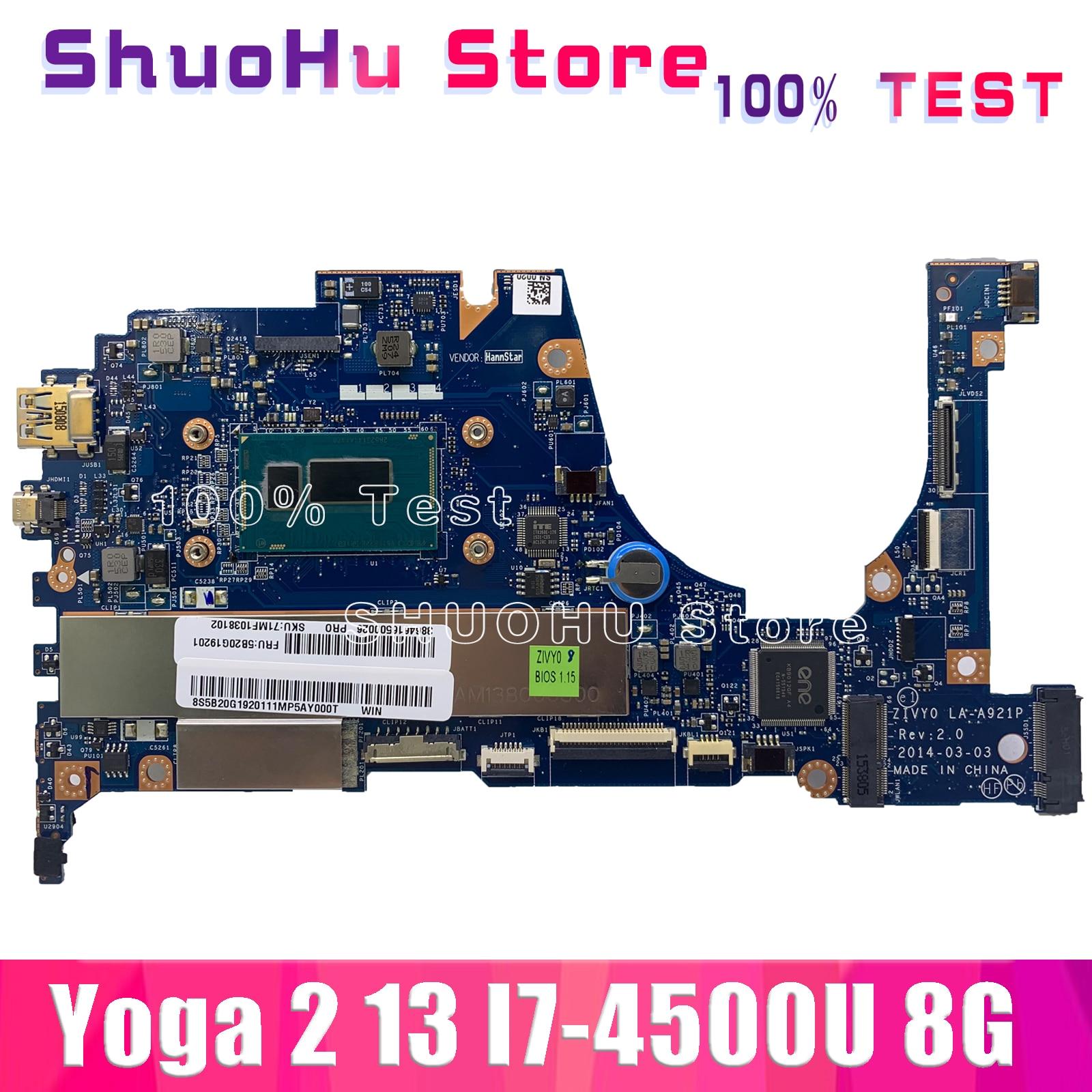KEFU LA-A921P para Lenovo yoga 2 13 placa base de computadora portátil LA-A921P I7-4500U CPU 8GB Placa de prueba 100% original