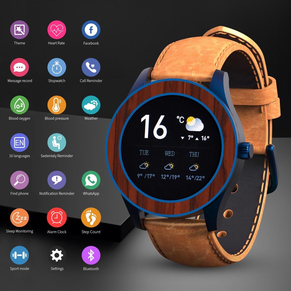 BOBO BIRD Wood Stainless Steel Smart Watch Men Waterproof Watches SmartWatch Bluetooth Heart Rate Monitor Personality Custom
