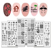 flamingo stamping plates summer palm tree alphabet mermaid swan image stainless steel nail stamping plate for nail art printing