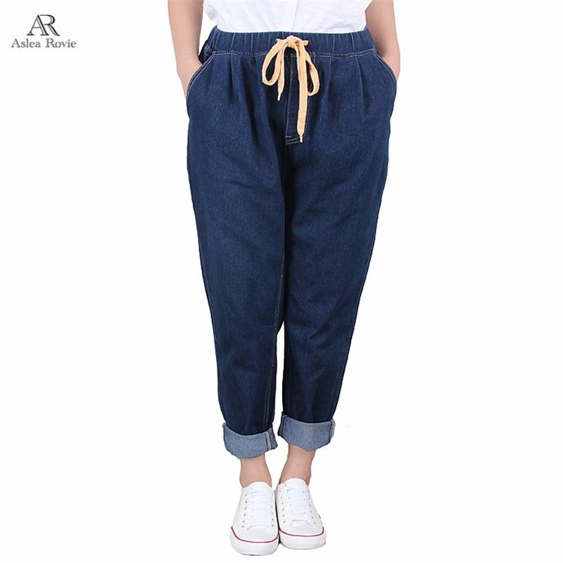 Jeans Woman   Plus  Size   Harem Pants High Elastic Waist Softener Loose Lady Denim Pants 5xl 6xl 7xl