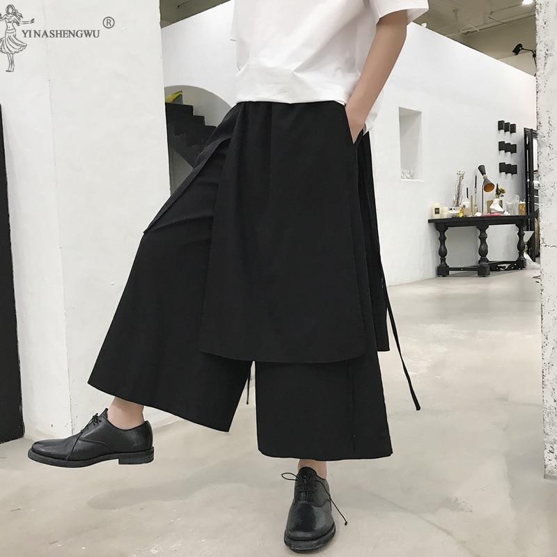 Men Japanese Harem Pants Vintage Loose Joggers Trousers Haori Cross-pants Crotch Pants Wide Leg Pants Samurai Costume Plus Size
