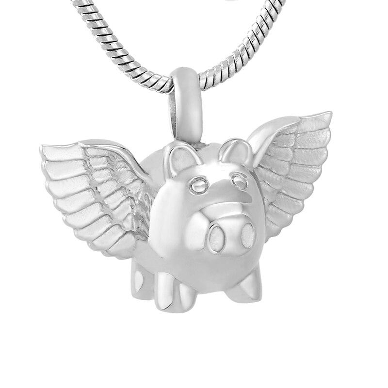 LKJ9732 Flying Pig Shape Stainless Steel Cremation Pendant Funeral Urn Ashes Holder Keepsake