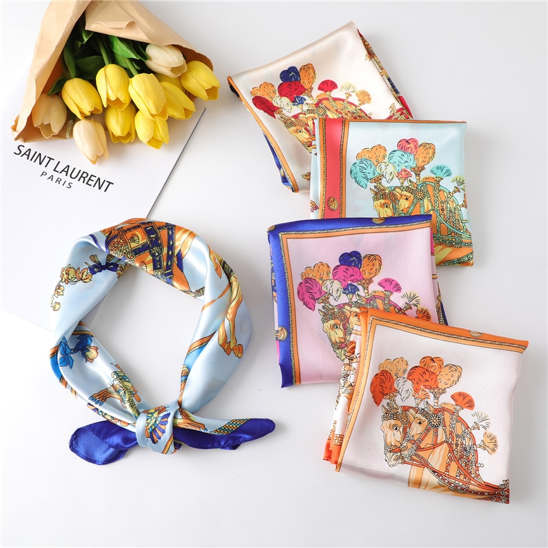 Bufandas para cuello con diseño de caballo para mujer, pañuelo de seda pequeña con pelo cuadrado, bolso de bufanda, banda para la cabeza, pañuelo de satén para mujer