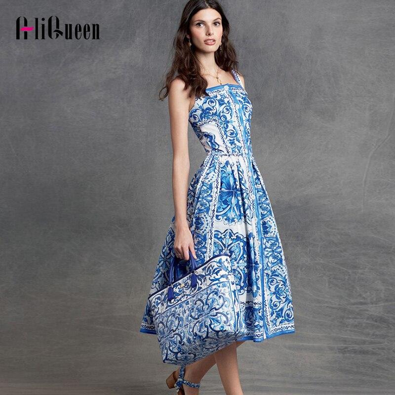 Vestidos Elegantes de seda suave de pasarela de alta calidad para mujer, vestidos de dibujo de porcelana Retro con botones y tirantes finos, vestido Midi bohemio de fiesta para el sol