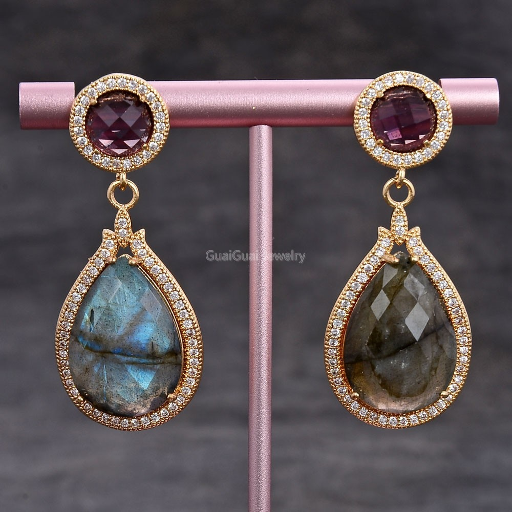 Gg jóias 19x29mm natural lágrima flash labradorite roxo cristal cz pave brincos do parafuso prisioneiro