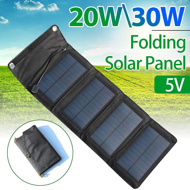 Panneau solaire pliant 5V 20W 30W USB batterie chargeur Kit complet batterie externe téléphone intelligent Portable pliable Rechargeable Camping