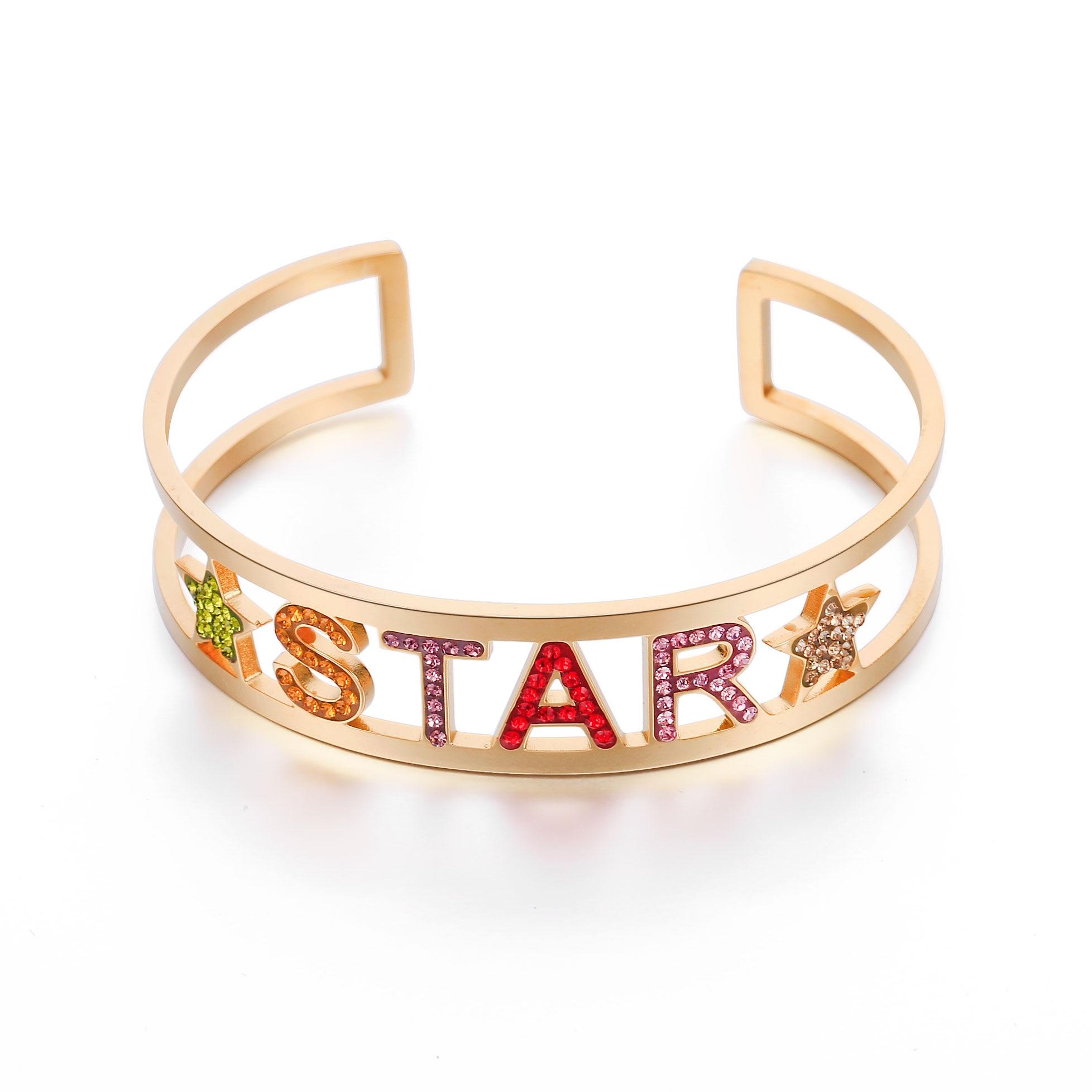 Nuevo acero inoxidable hueco colorido cristal letra brazalete pulseras para mujer oro estrella pulsera regalo para la joyería de la amiga