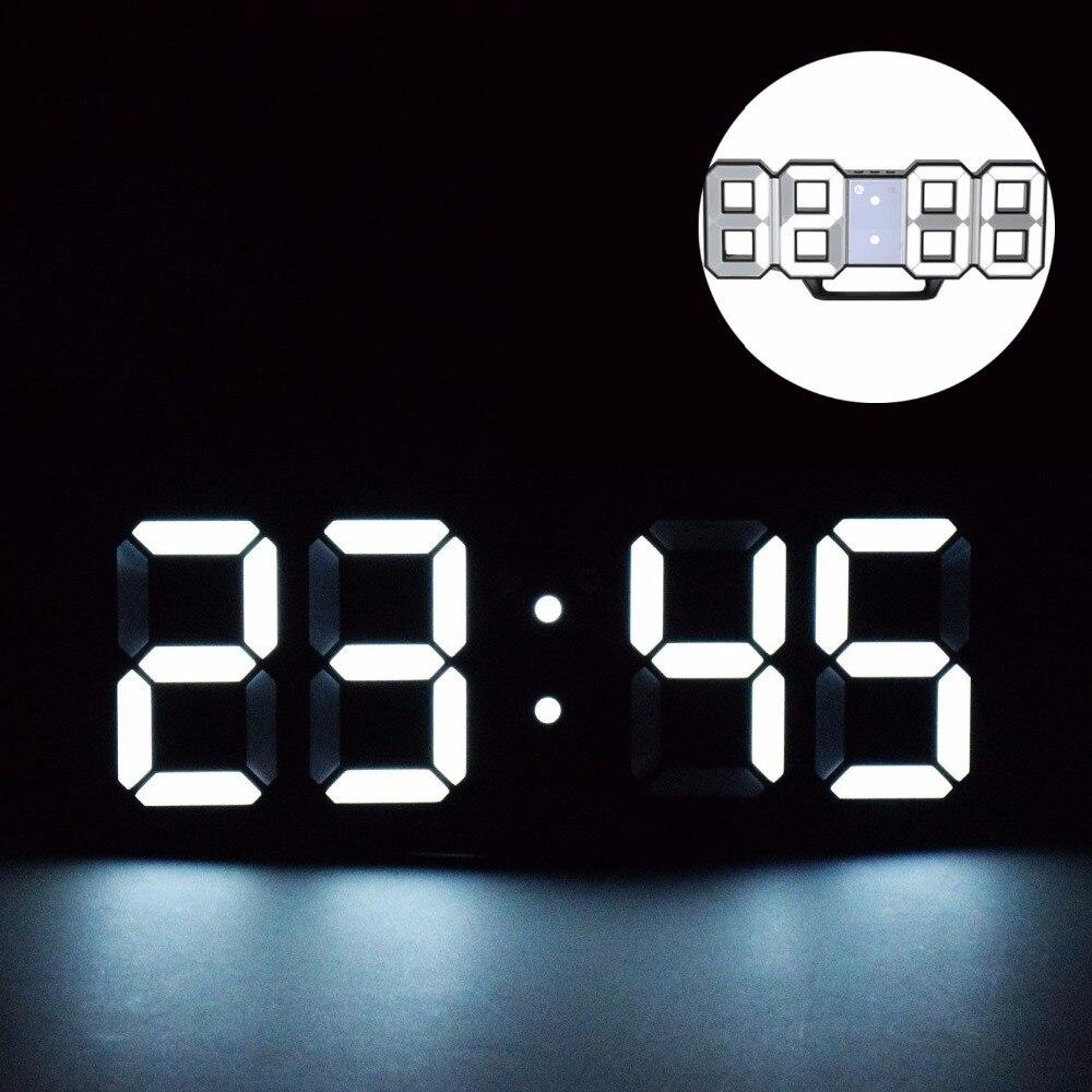 LED Digital Alarm Clocks Big Digit 3D Wall Clock 8 Shape Electronic Table Watch Shelf Nixie clock Horloge mural on the wall home
