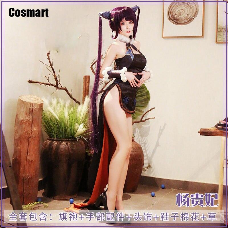 Traje de Halloween Terno para Mulher Fate Grand Order Yuhuan Yang Guifei Dheongsam Vestido Cosplay Roupa Nova – Fgo