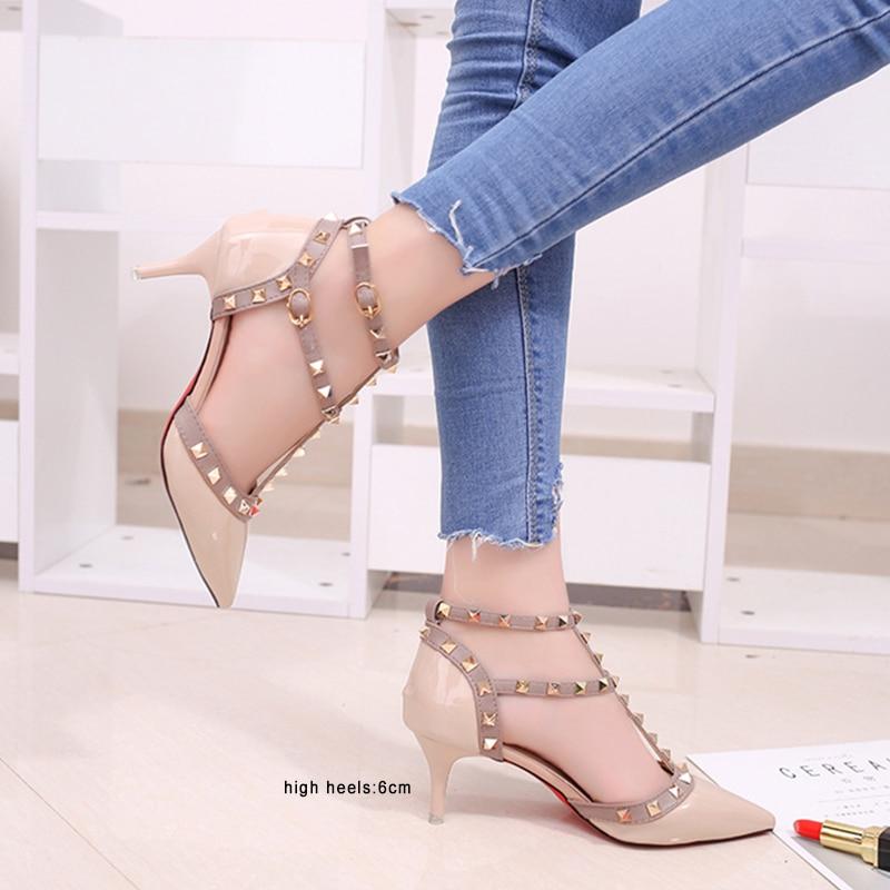 2019 new pumps women shoes Nude color rivet High heels shoes pumps sandals Ankle strap poinet toe women's shoes ladies shoes