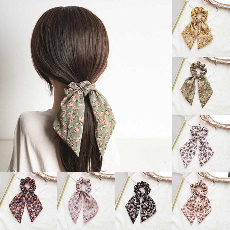 Scrunchies cabelo Big Rose Flor Elastic Faixa de Cabelo Atado Laços de Cabelo Cabelo Acessórios de Cabelo Corda Cabelo Anel de Cabelo Cachecol Longo fita