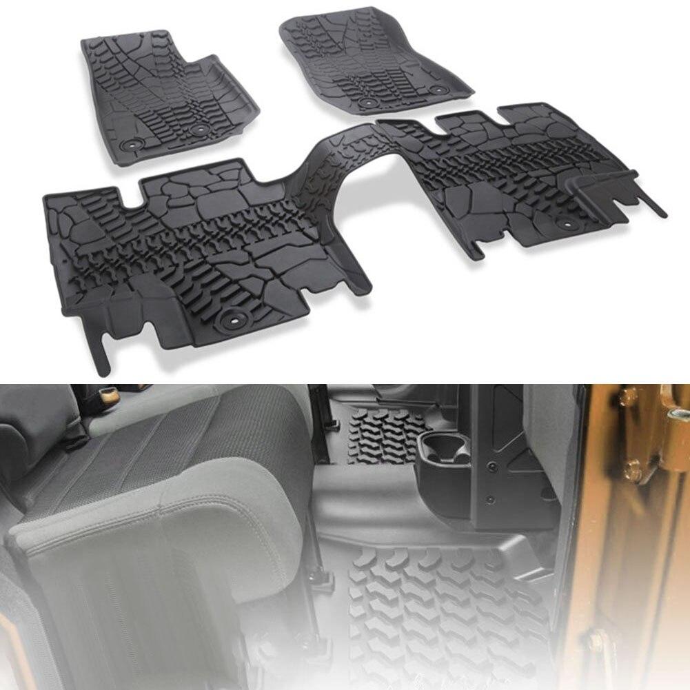 3 piezas, esteras de revestimiento para suelo de carga, todo tipo de clima para Jeep Wrangler JK 2014 2015 2016 2017 2018 negro