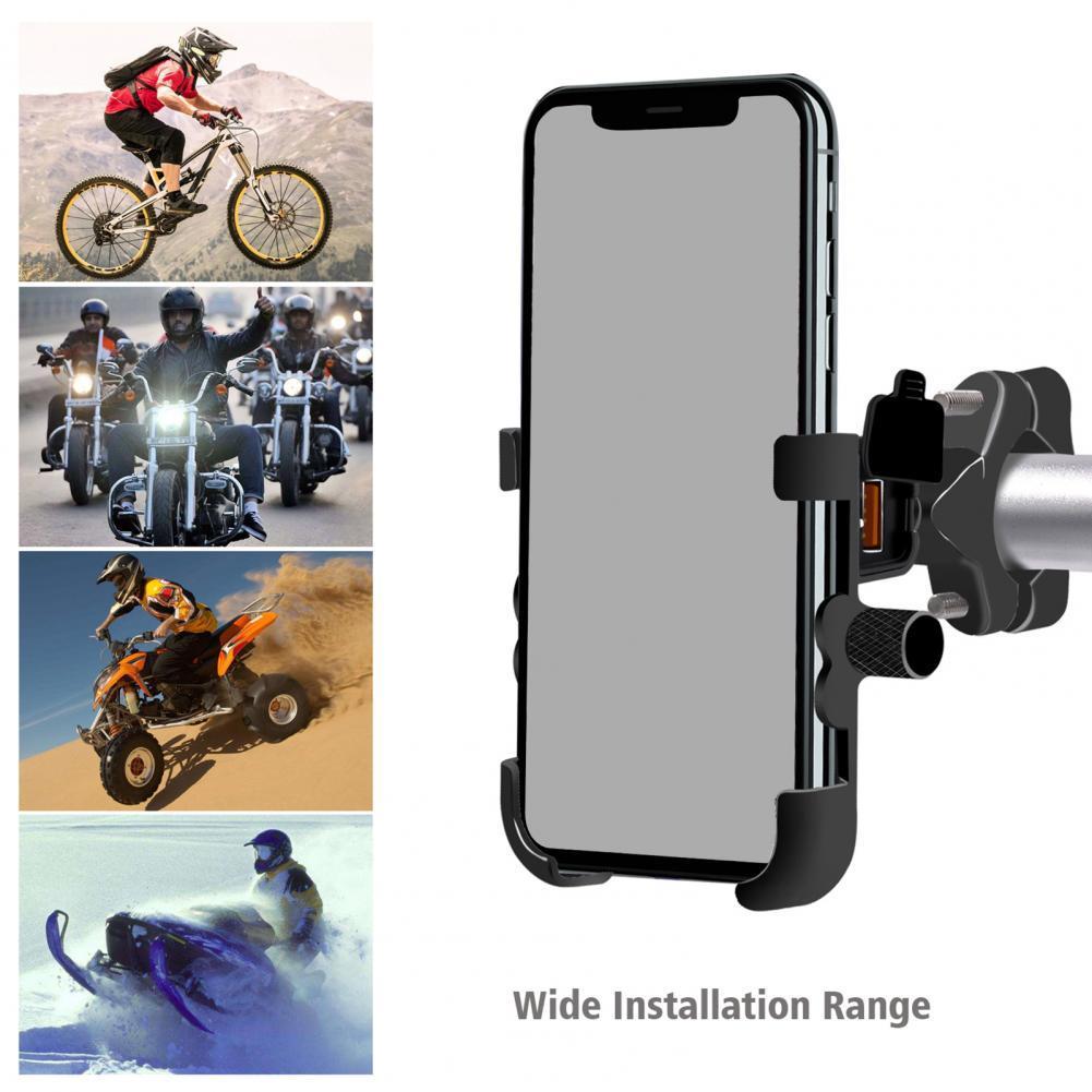 DC 12V-24V Waterproof Metal Motorcycle Phone Mount Bracket Holder QC 3.0 USB Quick Charger Phone Holder Aluminum alloy