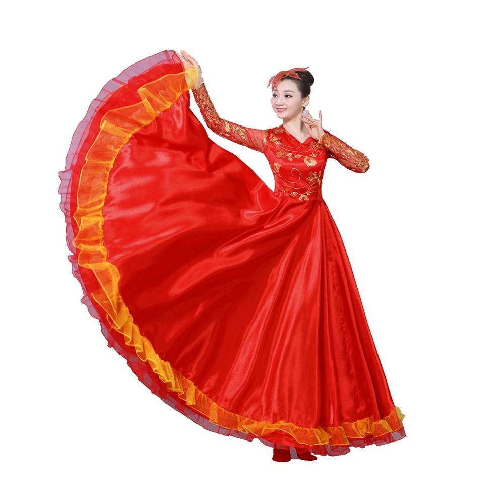 ملابس رقص إسباني الفلامنكو فستان رقص تقليدي للبالغين فستان جوقة-540 درجة