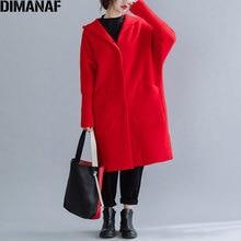 DIMANAF Winter Frauen Mantel Wolle & Blends Dicken Plus Größe Büro Dame Oberbekleidung Lose Kapuzen Batwing Hülse Strickjacke Weibliche Kleidung