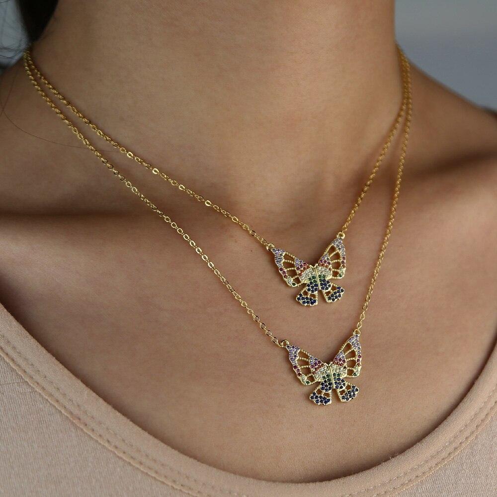 ¡Novedad de 2020! Collar de mariposa de oro para mujer, hermoso y colorido, con incrustaciones de zirconia cúbica a la moda