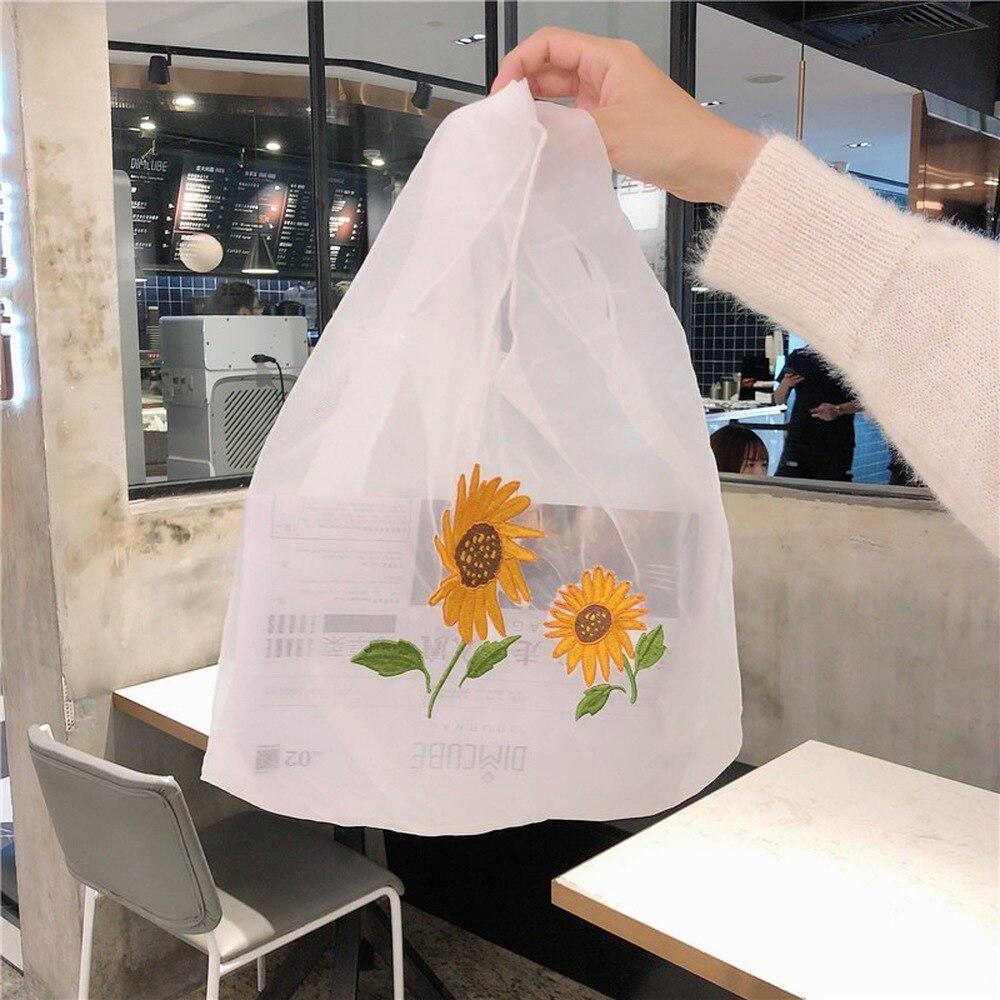 2020Casual Designer Handbag Flower Embroidered Organza Cloth Bag GIRLS Shoulder  Bag Chic Tote Bags for Women Luxury Bag