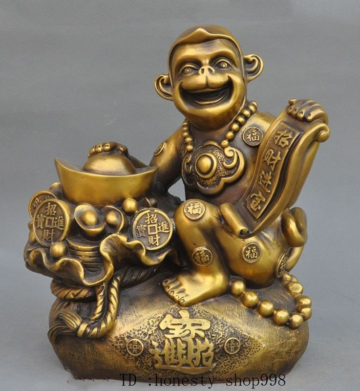 Navidad feng-shui de China bronce de abundancia Yuanbao Moneybag Animal Zodiaco mono Estatua de la suerte halloween