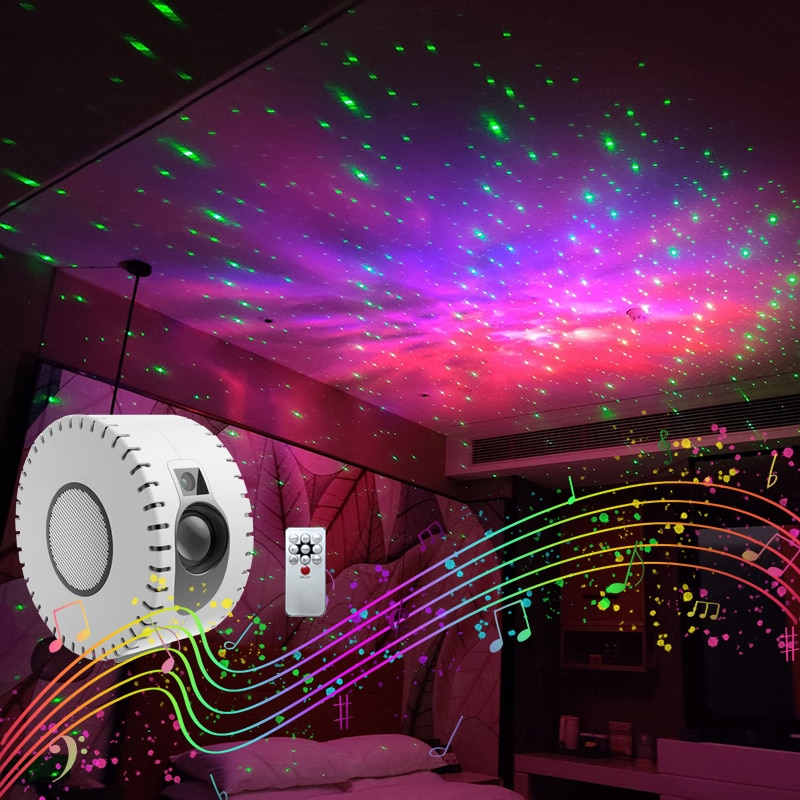 LED Laser Colorful Starry Sky Ocean Projector Night Light Remote Control Ocean Wave Projection Lamp With Bluetooth Music Speaker smartphone infrared wireless speaker bluetooth laser projection virtual invisible keyboard high tech electronics