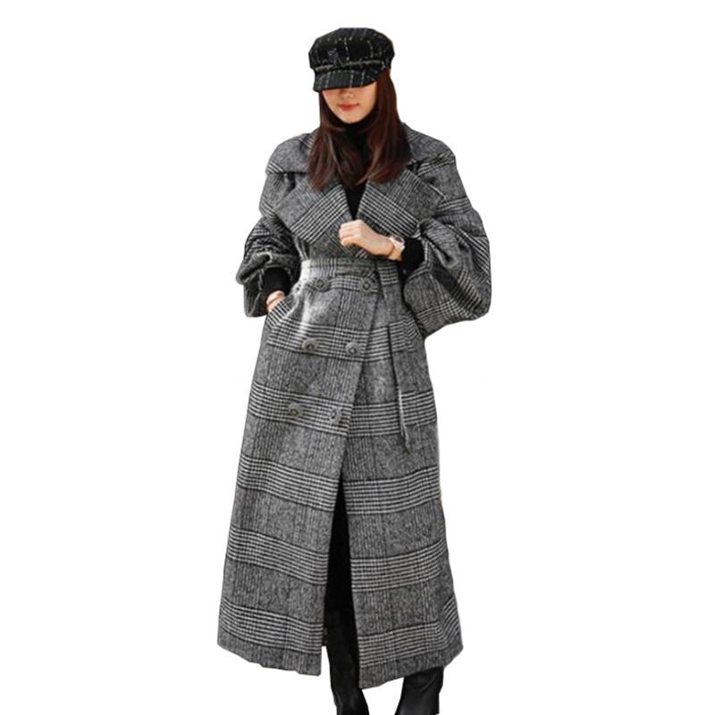 2019 nuevo otoño invierno abrigo de lana de cuadros mujer x-long linterna manga gran tamaño chaqueta de lana mujer espesar prendas de abrigo sueltas A2903