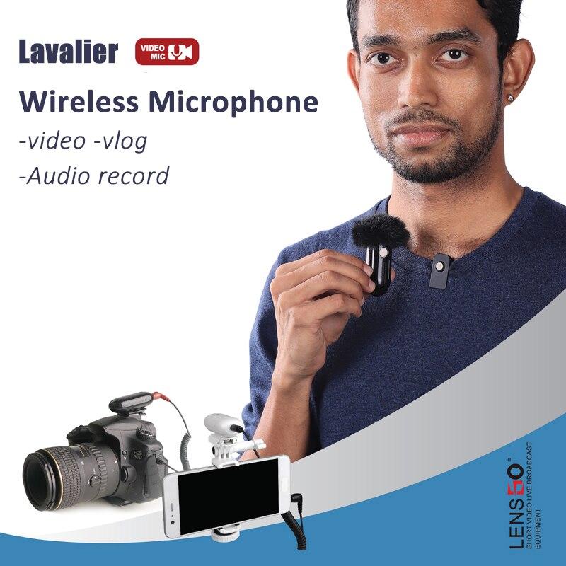 Lensgo LWM-318C Drahtlose Mikrofon Lavalier Video Mic für handys Kameras DSLR Gimbal Vlog Audio Interview Revers MIC
