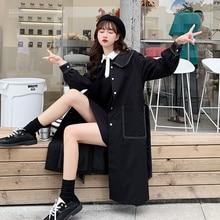 Korean Black Windbreaker Women's Spring Autumn New Fashion Doll Collar Loose Mid-length Belt Big Poc