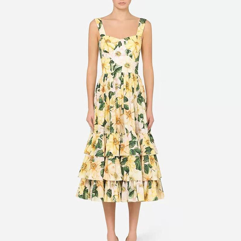 Banulin New Summer Fashion Runway Midi Dress Womens Spaghetti Strap Backless Ruffles Flower Print Beach Dresses for women 2021