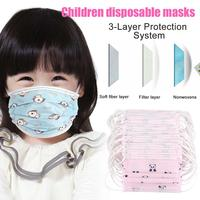50 Pcs Kids PM2.5 Anti-Dust Face Mask Breathable Cartoon Printing Mouth Masks 3 layers Non-woven Disposable Anti-droplet Masks